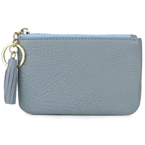 New Fashion Women Genuine Leather Mini Small Cowhide Luxury Coin Purse Pouch Wallets Money Key Keychain Bag for Little Girls