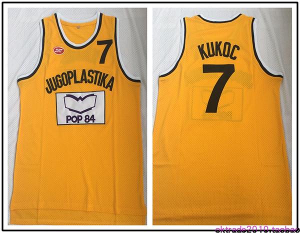Toni Kukoc Jersey dos homens # 7 Jugoplastika Split A versão do filme Basquete Jerseys Amarelo Frete Grátis Barato Costurado Logos transporte da gota