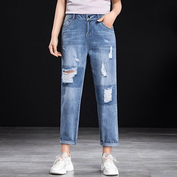 2019 Spring Hole Ripped Jeans Women Harem Pants Loose Ankle-length Pants Boyfriends For Woman Ladies Straight Jeans