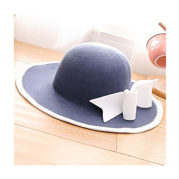 Fashion 100% Wool Floppy Hat With Big Bowknot Stylish Wide Brim Fedora Hats Elegant Solid Trilby Cap Adjustable For Women
