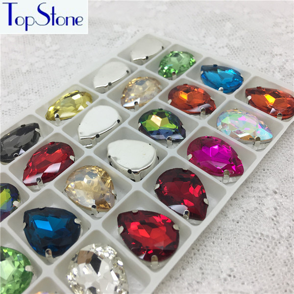 TopStone Glass Crystal Teardrop Droplet Sew On Claw Rhinestones With Metal Claw Setting multi colors Drop Sew-On Stone 10x14mm