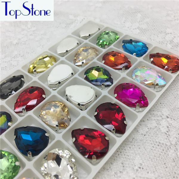 TopStone verre cristal Teardrop Droplet Coudre Griffe strass métal Réglage Claw couleurs multi goutte à Coudre 10x14mm Pierre