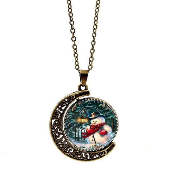 Christmas Snowman Two-sided Rotating Disk Necklace Party Charms Love Trendy Fine Designer Jewelry Sets Female Necklaces For Women