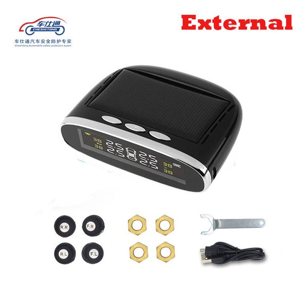 best selling Car Tyre Pressure Monitoring System The Solar Cell Transmits Data Wirelessly to Monitor 4 Tire Pressure Temperature in Real Time