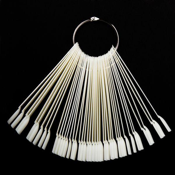 50PCS False Nail Round Hoop Stick Practice for Polish Gel Showing ToolsTransparent/Natural Fan Board Display Nail Gel Art Tips