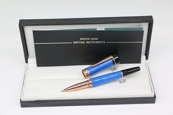 Germany brand lucky star series design Roller Pen made of High grade Blue resin with Rose Gold trim office school supply gift pen