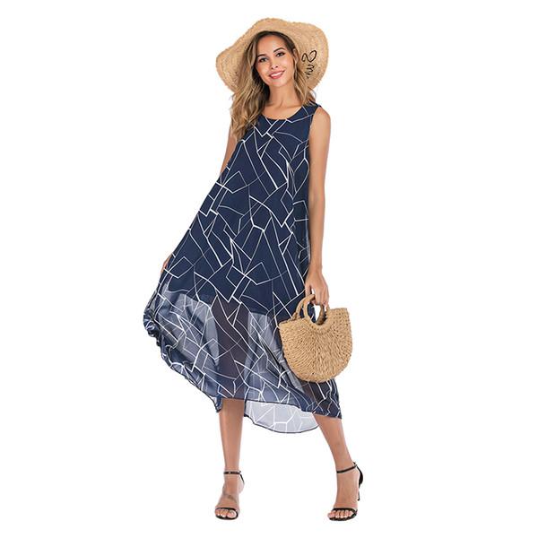 Модное женское платье Дизайнерское женское шифоновое платье с круглым вырезом с перекрещенной отделкой Высококачественное белое Неправильная линия печати Пляжное платье синего цвета