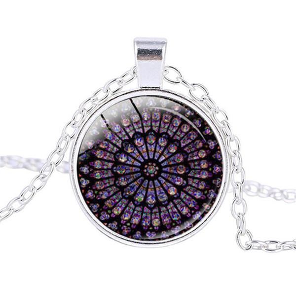 Rosace vidro manchado colar de catedral Notre Dame de Paris cores colar de vidro