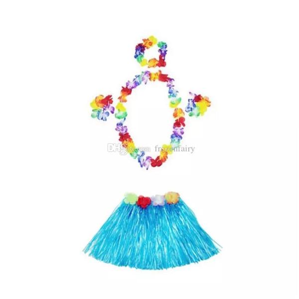 30 juegos 30 cm hawaiana Hula Grass falda + 4 piezas Lei Set para niño Luau disfraz fiesta de playa flor guirnalda conjunto cc228-2352018071204