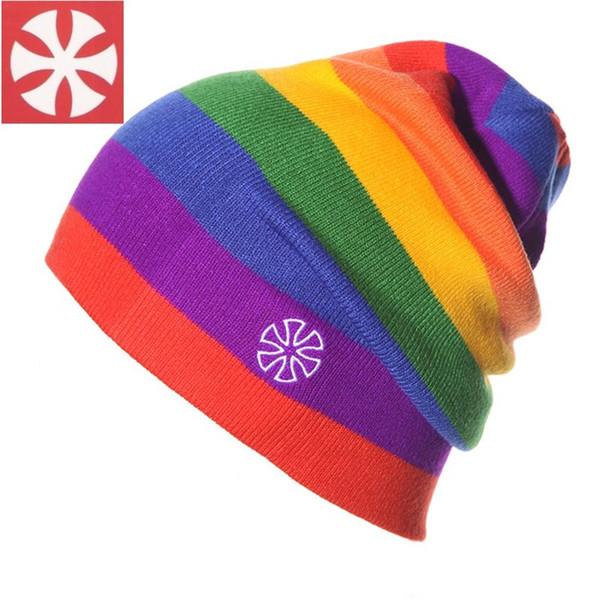 Arco iris de colores de invierno hicieron punto los sombreros Gorro Beanie Beanies Máscara del sombrero del capo deporte al aire libre Esquí Chapéu Cap Para Hombres Mujeres