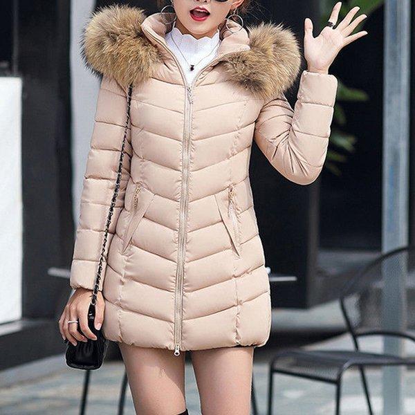 Women Parka Winter Coats Long Cotton Casual Fur Hooded Jackets Ladies Warm Winter Parkas Female Overcoat Women Coat