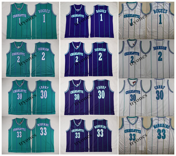 top popular NCAA Vintage 1 Tyrone Msy Bogues 2 Grandma-ma Larry Johnson 30 Dell Curry 33 Alonzo Mourning Basketball Jersey 2020