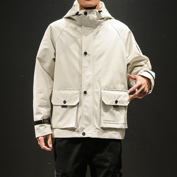 Hooded Spring Jacket Coat Men Arm Pocket Safari Style Windbreaker Man Beige Black Yellow Army Fashion Outerwear Oversize Jackets
