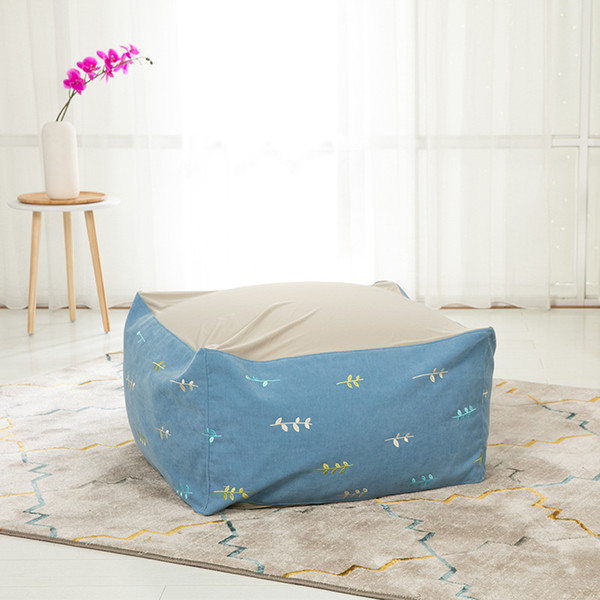Lazy Sofa Cover Without Filler Flannelette Embroidery Elastic Cloth Splicing Bedroom Modern Square Pure Color Cover