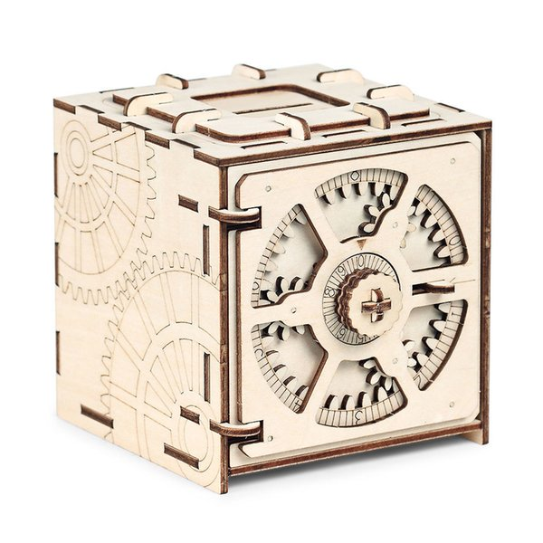 top popular Cipher Code Deposit Box 3d Puzzles Mechanical Wooden Model Puzzle Educational Toys Assembly And Detailed Stitching Steps 2019