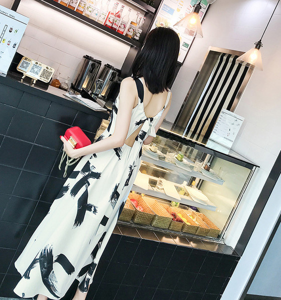 New Ink-and-wash Printed Mid-waist Long A-waistcoat Chiffon Elegant Dresses for Women in Summer 20199