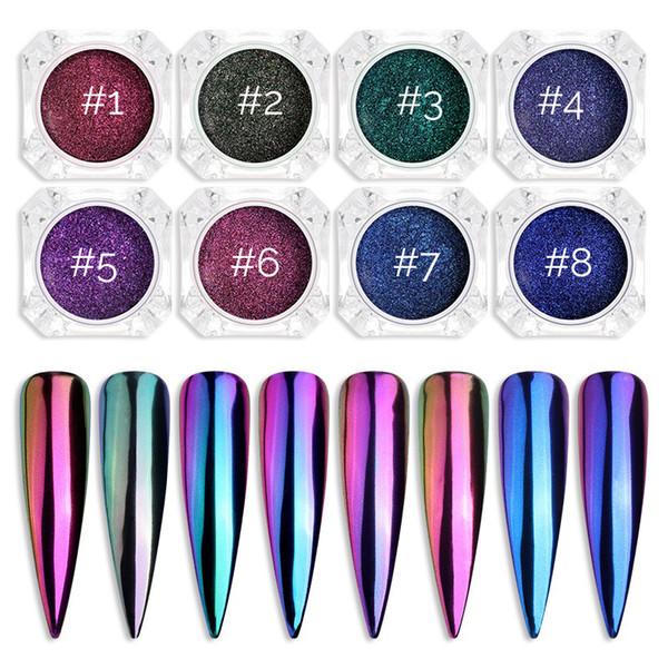 Chrome Mirror Powder Nail Art Glitter 8 colores Camaleón Pigmento Glitter Powder Manicure Nail Tips Decoración Accesorios Gel Polvo Esmalte