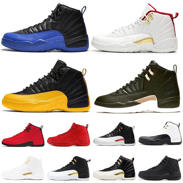 nike air jordan retro Fiba 12 12 s erkekler basketbol ayakkabı Oyunu Kraliyet Ters Taksi Koyu Gri Üniversitesi Altın Playoff Kanatları erkek eğitmenler Spor Sneakers 7-13