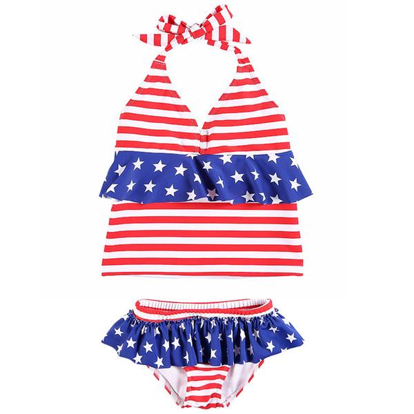 Baby Mädchen gestreiften Badeanzug Kinder Sterne Spitze hängenden Hals Bikinis amerikanische Flagge Unabhängigkeit Nationalfeiertag USA 4. Juli zweiteilig