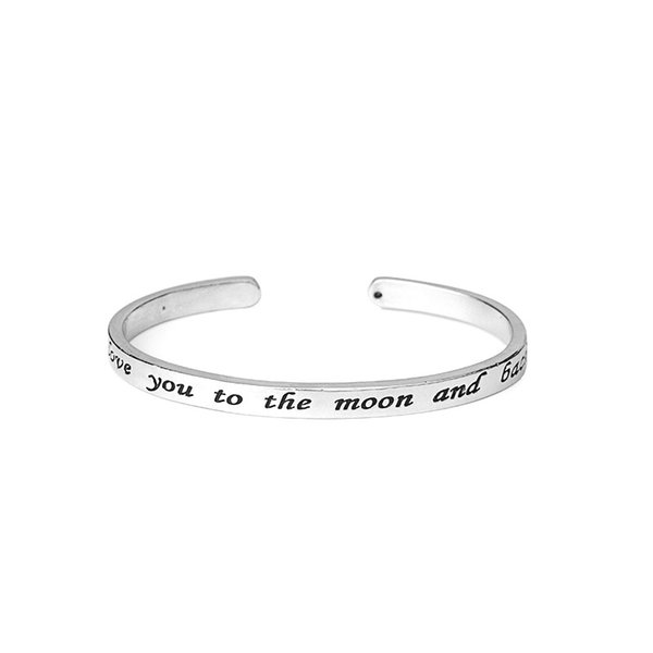 Letter Bracelets Women Bangles Silver Plated Alloy Bracelets I Love You To The Moon and Back Adjustable Cuff Bangle Fashion Jewelry