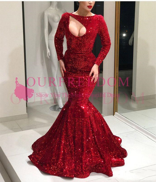2019 Elegant Red Keyhole Long Sleeve Prom Dresses Mermaid Sweep Train Sweep Train Sparkly Sequins Formal Evening Occasion Dresses