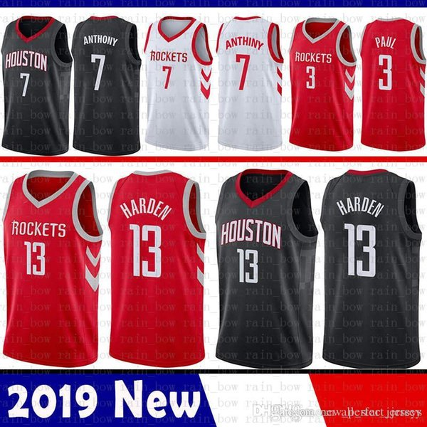 big sale f2f79 4fdbd 2019 Cheao Sale James 13 Harden Houston Jersey Rockets 3 Chris # Paul 7  Carmelo # Anthony Basketball Jerseys Red Black WHITE From All_star_jerseys,  ...