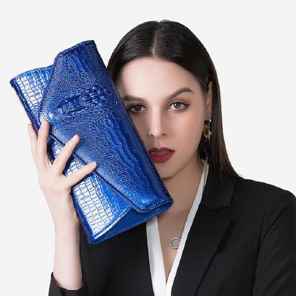 En cuir verni femmes d'embrayage cru crocodile dames sacs à main designer noir messenger femme chaîne enveloppe sac à bandoulière