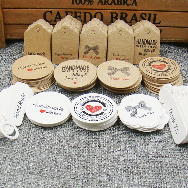 2000pcs per lot handmade hang tag kraft paper thank you gift tag label for wedding/candy/baby gift products tagging package