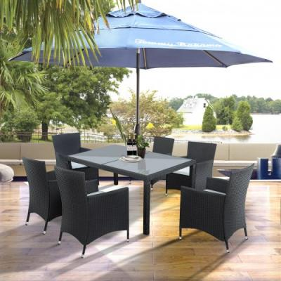 2019 Outdoor Wicker Dining Set Dining Table Set For 6 Patio Rattan  Furniture Set With Beige Cushion Patio Furniture Outdoor From  Measuringtools, ...