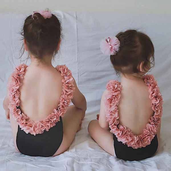 INS baby girl swimsuit pink floral one-pieces kawaii children summer kid jumpsuit hot sale S-XXL swimsuit