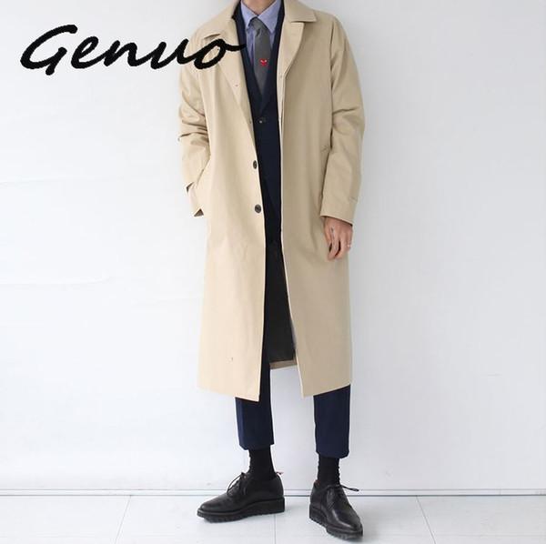 Japan Style Mens Trench Coat 2019 Fashion Designer Long Windbreaker Autumn Winter Single Breasted Windproof Overcoat Plus Size