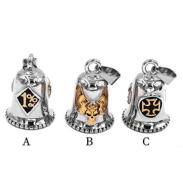 One Percent 1% ER Skull Biker Bell Pendant Stainless Steel Wing Army Cross Lucky 13 Pendant 506B (Has steel ball,no bell sound)