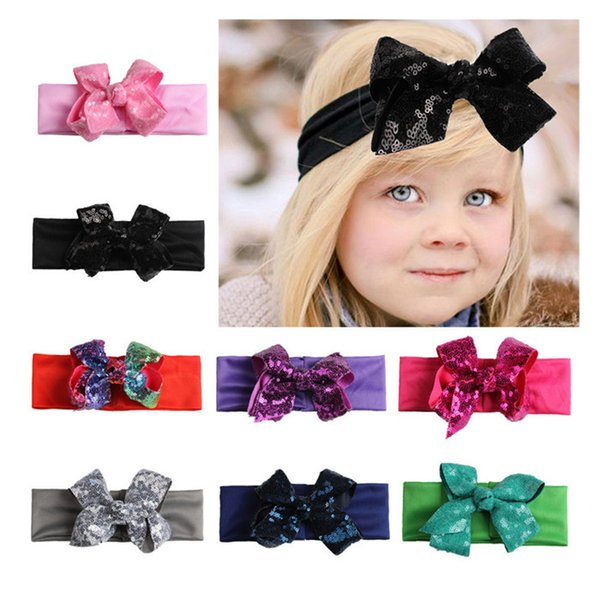 Infantile Girls Big Sequin Bow Headbands For Kids 2019 Solid Elastic Hair Band Large Gold Glitter Hair Bow Hair Accessories mlsp012