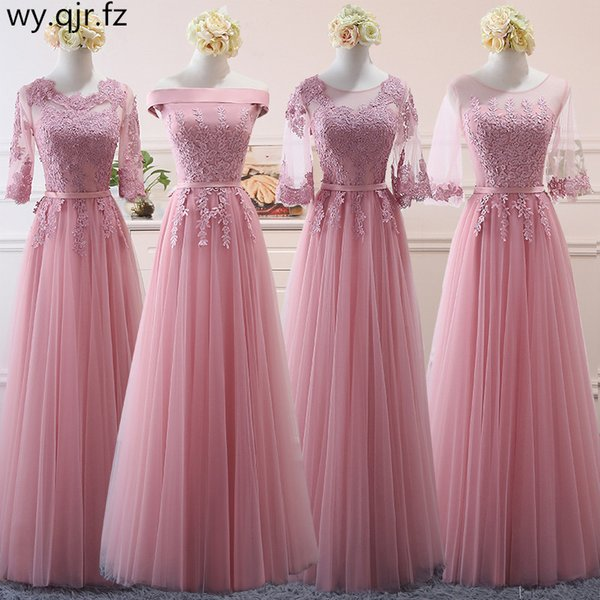Ncg02#lace Up Pink Bean Sand Net Yarn Long Bridesmaid Dresses New Spring Wholesale Wedding Party Prom Bridal Dress China Q190525