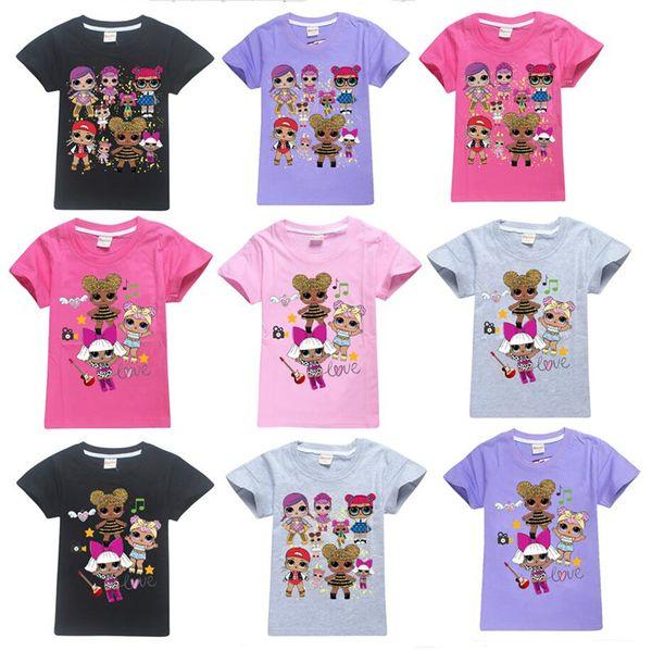 Ins Surprise Girls Cartoon T Shirt Summer Cotton Tees Round Neck Short-Sleeved T-Shirt Children Kids tshirts Outwear Top Clothing A32008