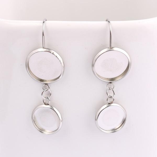 shukaki fit 12mm 10mm 8mm round cabochon earring bezel settings stainless steel blank ear wire hook connector base diy jewelry findings