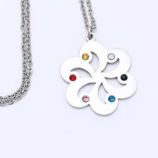 Stainless steel Women Necklace Rotating Fashion flower crystal pendant Valentines Gift For Girlfriend wife Friend Best gift