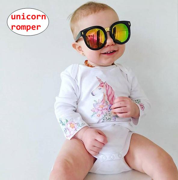 INS Baby Unicorn print Romper Toddler designer onesie Kids long sleeve flower print jumpsuits 4size for 0-18M