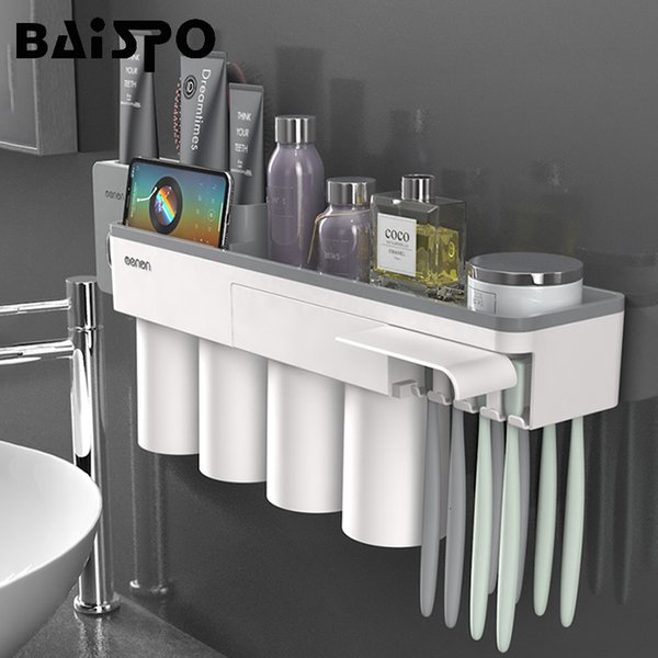 BAISPO New Magnetic Adsorption Toothbrush Holder With 4 Cups Wall Mounted Bathroom Storage Rack Case Bathroom Accessories Set SH190919