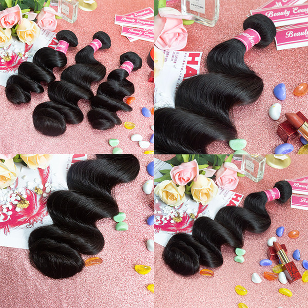 best selling 8-28inch Body Wave Human Hair Bundles 3 4 pcs Peruvian Silky Straight Human Hair Extensions Loose Wave Virgin Hair Weave Bundles
