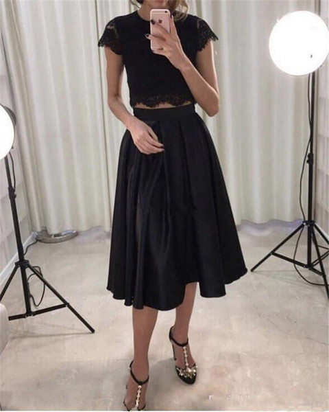 Lace Short Prom Dresses 2019 Two Pieces A Line Illusion Knee Length Formal Party Evening Gowns Solid Special Occasion Dresses Vestido