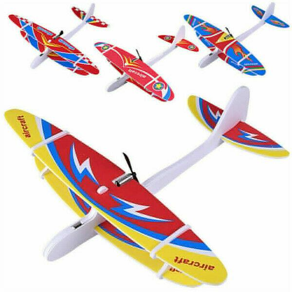 top popular Kids Early Education Rubber Band Powered Glider Plane Assemble Aircraft toy Flying Plane random color plastic fantasy miniatures 2021