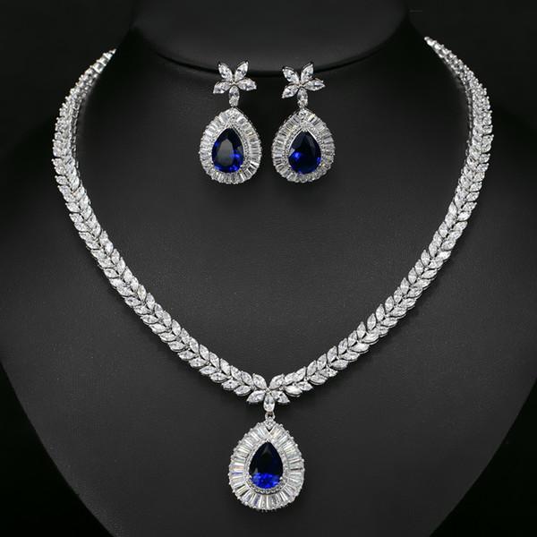 Moda Colar Brincos Conjuntos Azul CZ Pedras Conjuntos de Jóias de Casamento Zircônia Cúbica de Cor de Ouro Branco de Luxo Presentes para As Mulheres