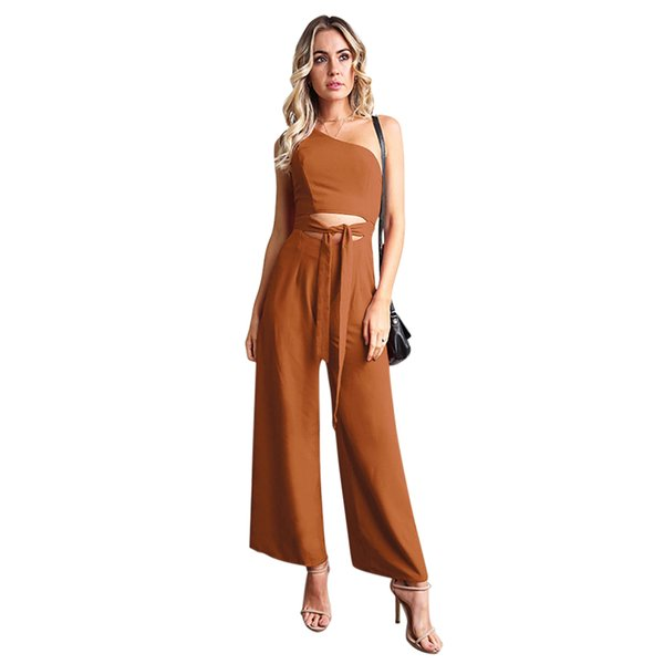Mujeres Casual Fabala Elegante Cremallera Clubwear Pierna ancha Pantalón Cintura Corbata Slim Fit Sin mangas Mono Slash Cuello Hollow Out M-XL