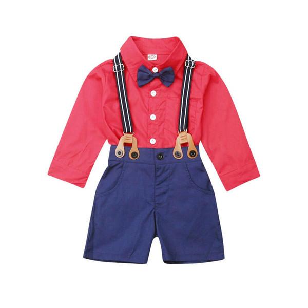 2 STÜCKE Kleinkind Kinder Jungen Kleidung Gentleman Set Shirt Top + Trägerhose Outfits Kinderkleidung Jungen Kleidung Kinder Outfits Sets