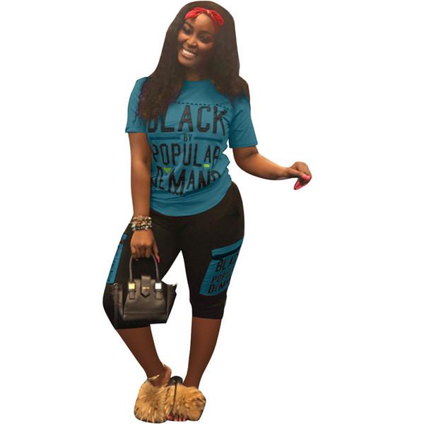 S-3XL Kadınlar Siyah Harfler Şort Eşofman Tasarımcı T-shirt + Şort 2 Parça Yaz Joggers Spor 2019 Trendy Sokak Kıyafeti A5906