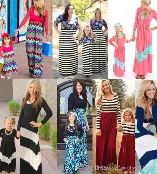 Schöne lange Ärmel Mama und mich Familie passende Mutter Tochter Kleider Kleidung Patchwork Mutter und Mädchen Kleid Kinder Eltern Kind Outfits