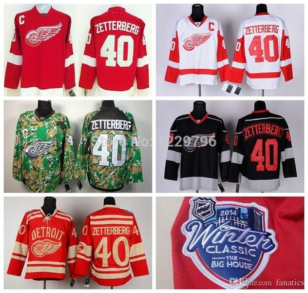 Detroit Red Wings #40 Henrik Zetterberg Hockey Jerseys Home 2016 Winter Classic Cheap Henrik Zetterberg Stitched Jerseys C Patch