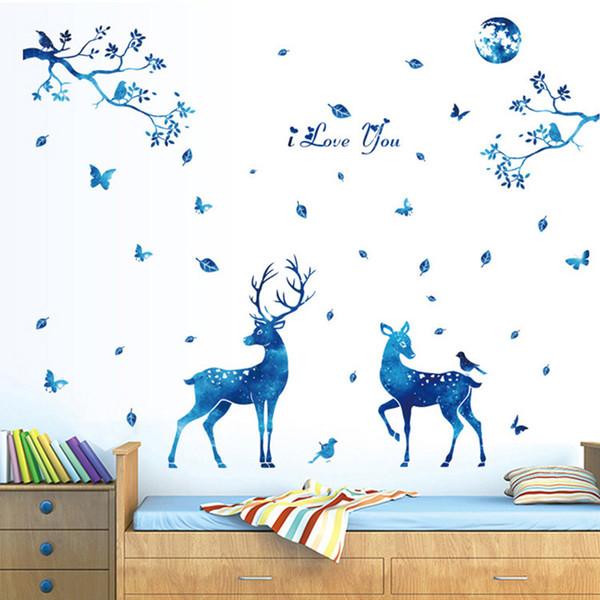 Wandaufkleber Steuern Wanddekor Blau Elch Elch für Kinderzimmer Schlafzimmer Dekoration DIY Landschaft Poster Tapete Wandtattoos
