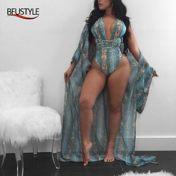 BFUSTYLE женщины крест бандаж боди + прикрыть бикини набор купальник женский глубокий V-образным вырезом купальники пуш-ап купальный костюм